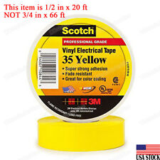 3M 35 Scotch Vinyl Electrical Color Coding Tape, 1/2 in x 20 ft, Yellow