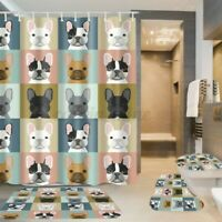 4Pcs / Set Hund Bad Duschvorhang Matte Rutschfest Teppich Toilettensitz Deckel