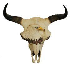 Dekofigur Büffelschädel Bisonschädel Schädel Tierschädel Büffelkopf mit Adlerdek