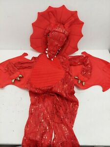 Pottery Barn Kids Red Dragon Costume Size 4-6 Years Headpiece and Body NWT