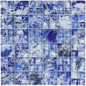Modern French Pattern Blue Glossy Glass Mosaic Backsplash Tile Kitchen MTO0113