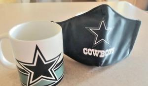 NFL Dallas Cowboys 11 oz  mug  & Facial Mask / Tasa y Cubreboca de los Cowboys