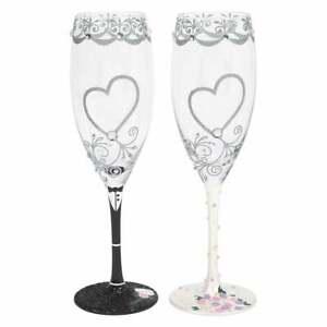 Lolita Bride & Groom Wedding Set of 2 Toasting Wine Glasses New Boxed 6007478