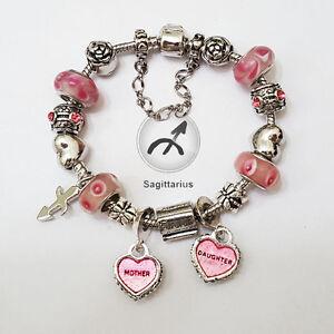SAGITTARIUS Zodiac Silver Pink Murano Mother & Daughter Heart Charm Bracelet