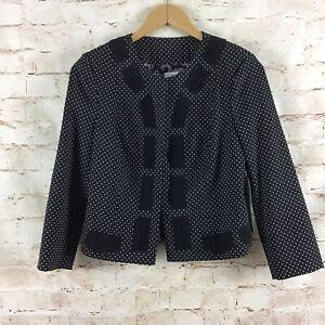 Cabi #5156 Crop Dot Jacket Polka Dot Black White Women's Size 4