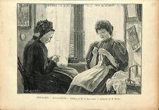 Paris Salon peinture Beaux-Arts La Layette par Hofinger Peintre GRAVURE 1897