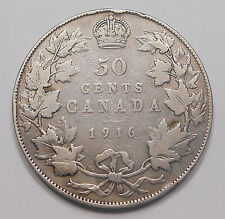 1916 Fifty Cents VG+ Very NICE Better King George V 50¢ WWI Era OLD Canada Half