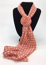Small Orange & White Spotted Small Scarf with Removable Flower Clip