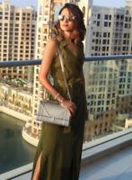 Karen Millen Safari Green Tie Waist Pocket Long Midi Drape Shirt Dress UK 6 to 8