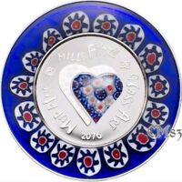 2016 MURRINE MILLEFIORI GLASS ART Venetian Murano Silver Coin 5$ Cook Islands.