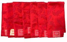 Lenox Red Holly Holiday Damask Fabric Napkins set of 7
