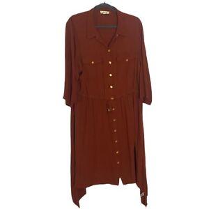 Indigo Rose Collard Shirtwaist Dress Size 3X Burnt Orange 3/4 Sleeve
