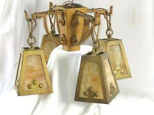 Arts & Crafts Mission Slag Glass 4 Hanging Lamp Chandelier Heavy Hammered Metal