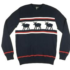 Forever 21 Mens Deer Christmas Sweater Multi Color Cotton Knit Size Large L