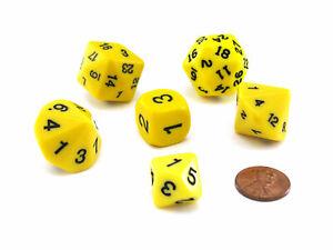 Who Knew Dice Set, 6 Pack of Unique D3, D5, D7, D16, D24, D30 Dice - Yellow