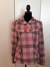 Billabong Women's Coat Size Medium Pink Check Plaid Double Breasted Pea Coat