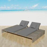 vidaXL Double Sunlounger Poly Rattan Wicker Gray Garden Daybed Lounge Sunbed