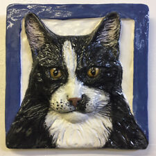 Longhair Cat Ceramic Tile Handmade 3d Pet Portrait Animals Sondra Alexander Art