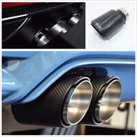 1 Pcs 63mm IN-101mm OUT Glossy Black Carbon Fiber Car Exhaust Tips Muffler Pipe