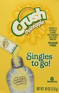 CRUSH PINEAPPLE Singles to Go! Sugar Free Drink Mix Pack of 3