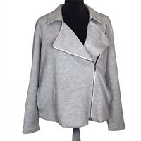 Eileen Fisher Herringbone Knit Moto Jacket Gray Cross Zip Organic Cotton Large