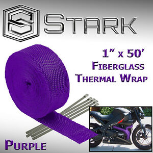 "1"" x 50' Ft Motorcycle Header Exhaust Heat Wrap Fiberglass Manifold - Purple (B)"