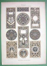 ART NOUVEAU Era Original Print 1892 - Ornaments in Wood & Leather