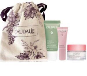 CAUDALIE Treats Trio Gift Set Eye Gel Cream, Moisturiser & Cleanser New In Bag