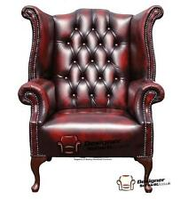 Chesterfield 1780's Queen Anne High Back Wing Chair Oxblood Leather