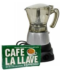 Electric Cuban Coffee Espresso  Maker 3 to 6 Cups (1Pack LA LLAVE  10oz FREE)