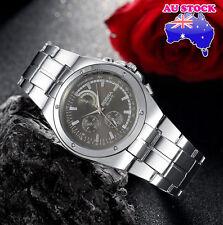 Wholesale Silver Crystal Stainless Steel Black Dial Quartz  Men's Wrist Watch