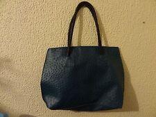 Blue Aqua Teal Ostrich pattern purse handbag bag Brown rope laced shoulder strap
