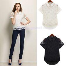 camicia camicetta maglia maglietta top blusa ricamato donna manica corta C322