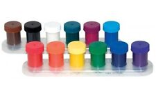 12 x POTS WATERCOLOUR READYMIX POSTER PAINTS CHILDRENS ART CRAFT STAND & BRUSH