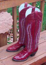 New, Unworn Larry Mahan Eel Tall Cowboy Boots Vtg Women's 6B Burgundy Exotic NWB