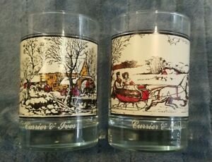 2 Arbys Currier and Ives 1981 Rock Glasses Frozen Up The Road in Winter