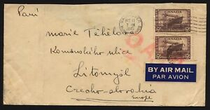 CANADA 1945 O.A.T. Airmail Cover Vancouver to CSR