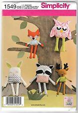 SEWING PATTERN EASY Stuffed Animals Bunny Fox Owl Deer Raccoon Simplicity 1549