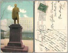 NEW YORK CITY N.Y. BATTERY PARK ERICSSON STATUE 1908 ANTIQUE POSTCARD