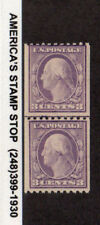 1917 Us Sc 489 3c Washington Coil Line Pair, Mnh Mint Nh*