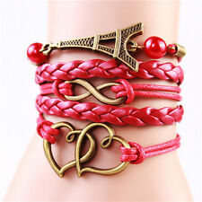 "Bronze Plated Eiffel Double Heart Leather Cord Charms Bracelet 6.5""-8"" Red"