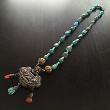 LARGE Fine Antique Chinese Silver Pendant Turquoise Nugget Agate Beaded Necklace