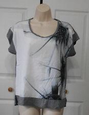APT. 9 Women's Gray White Print Chiffon Front Gray Jersey Back/Trim Top Size S P