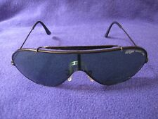 Vintage Bausch & Lomb Ray Ban Wings Black Frames Green Lenses Sunglasses EUC