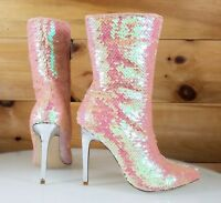 """CR Pink Sequin Pointy Toe Ankle Boot Full Side Zipper 4"""" High Heels 6-11"""