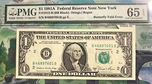 Fr 1912 B $1 1981A Butterfly Fold Error PMG 65 Gem Unc EPQ BB Block Ortega Regan