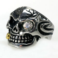 Edelstahl- Ring Evil Skull Totenkopf mit Strass Biker