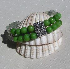 "Peridot & Green Prehnite Crystal Gemstone Bracelet ""Kiwi Glory"""