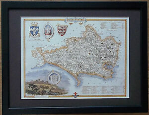 Old County Map wall art -12''x16'', Framed Dorsetshire map