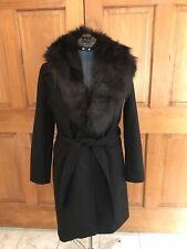 ZARA Women Long Coat Size M Manteco Black  75% Wool Faux Fur Coat New